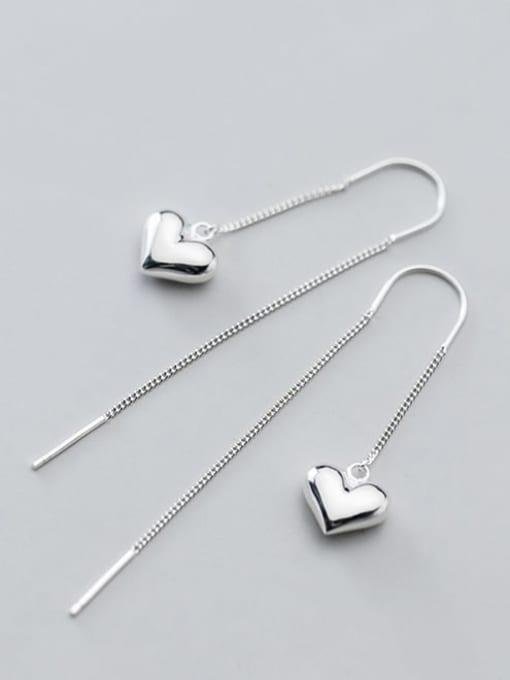 Rosh 925 Sterling Silver Heart Minimalist Threader Earring 2
