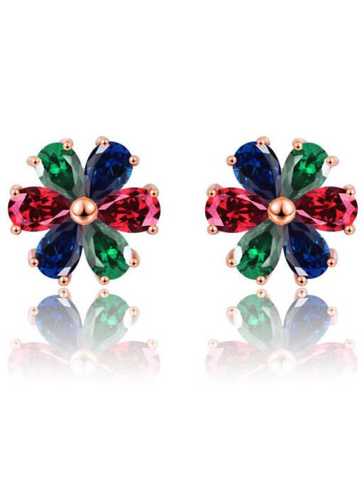 DUDU Brass Cubic Zirconia Multi Color Flower Dainty Stud Earring 0
