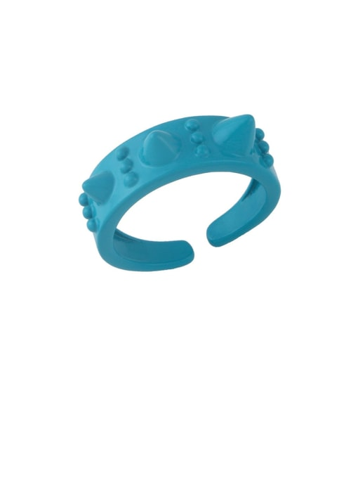 Dark blue Brass Enamel Geometric Hip Hop Band Ring