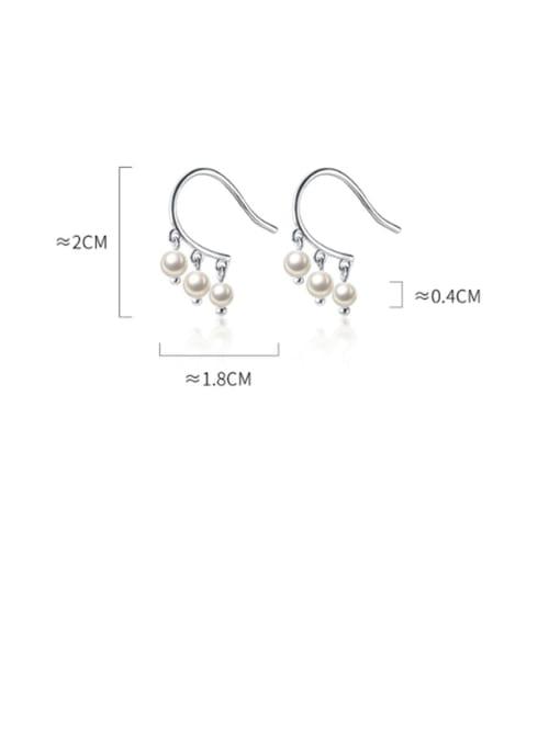 Rosh 925 Sterling Silver Imitation Pearl  Round Ball Minimalist Hook Earring 2