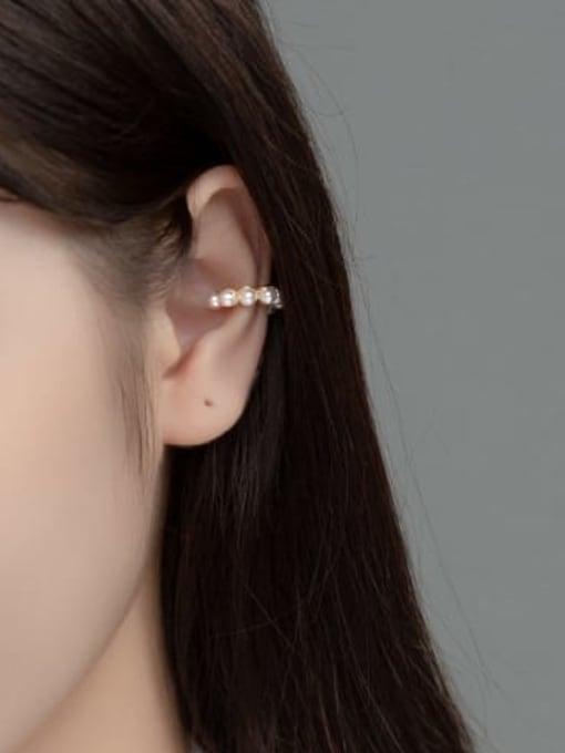 Rosh 925 Sterling Silver Imitation Pearl Geometric Vintage  Clip Earring (Single) 1