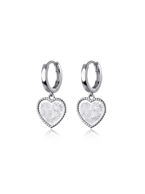 silver 925 Sterling Silver Heart Minimalist Huggie Earring