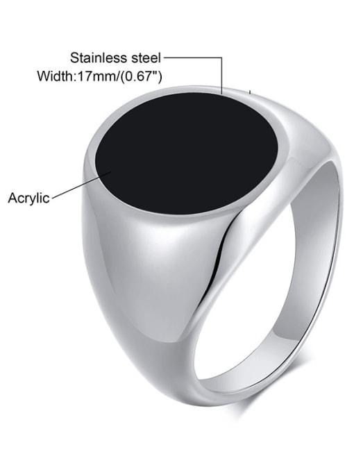 CONG Titanium Steel Acrylic Geometric Vintage Band Ring 2