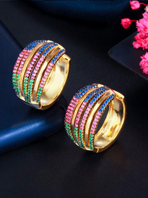 L.WIN Brass Cubic Zirconia Geometric Luxury Stud Earring
