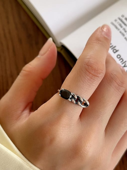 Black Agate Ring J98 2.3g 925 Sterling Silver Cubic Zirconia Geometric Vintage Stackable Ring
