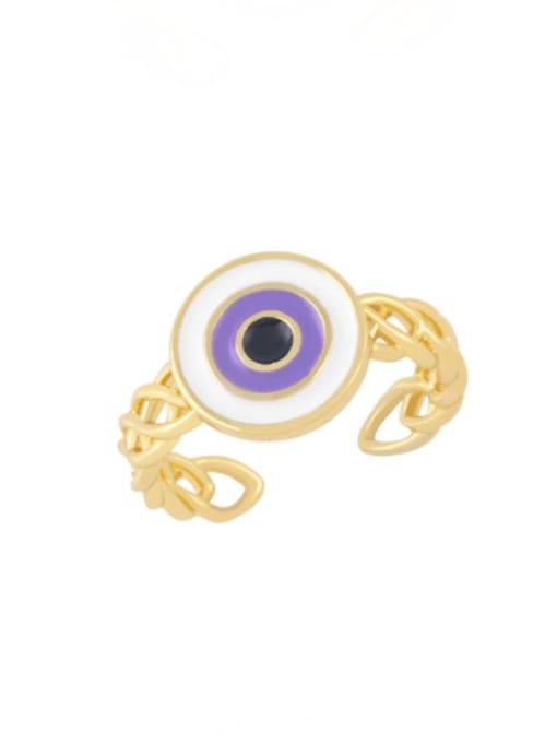 purple Brass Enamel Evil Eye Vintage Band Ring