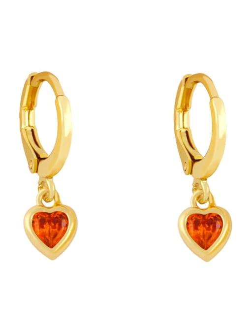 orange Brass Cubic Zirconia Heart Minimalist Huggie Earring