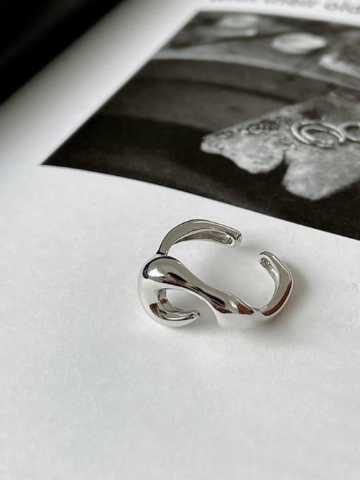 B shaped ring j1551 925 Sterling Silver Irregular Vintage Band Ring