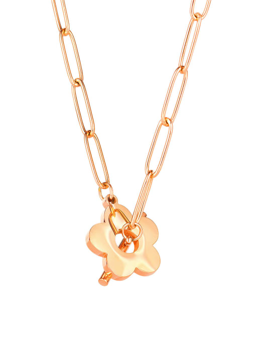1853 rose gold plated necklace Titanium Steel Flower Minimalist Pendant Necklace