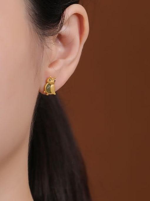 DEER 925 Sterling Silver Jade Eagle Cute Stud Earring 1