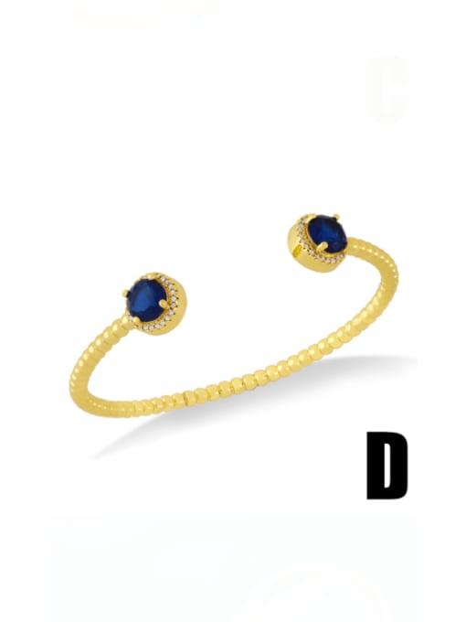 D (blue) Brass Cubic Zirconia Snake Vintage Cuff Bangle