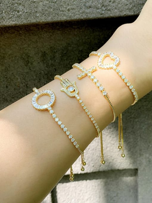 CC Alloy Cubic Zirconia Cross Vintage Link Bracelet 3