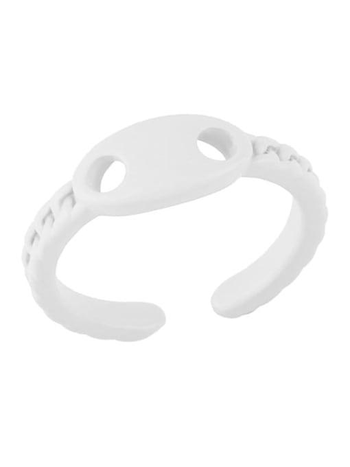 white Brass Enamel Geometric Minimalist Band Ring