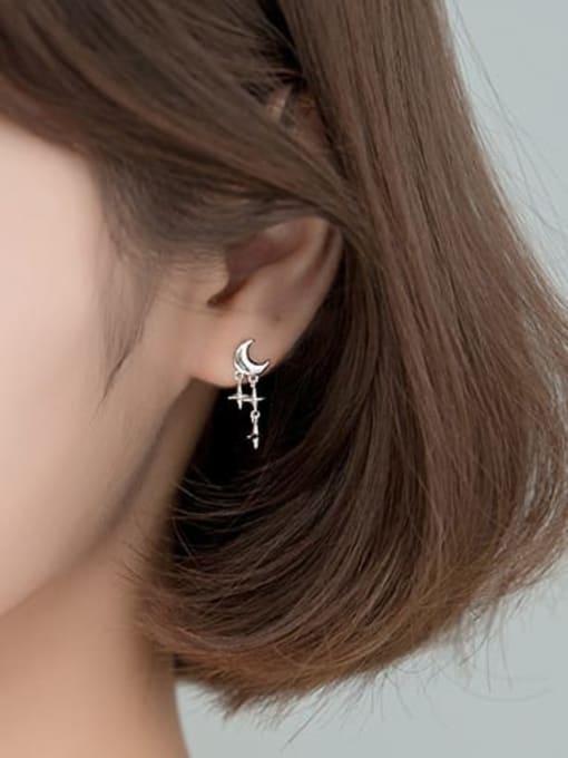 Rosh 925 Sterling Silver Moon Minimalist Cross Drop Earring 1