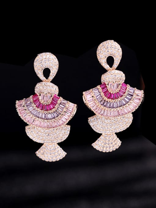 Pink   Zirconium Brass Cubic Zirconia Geometric Luxury Cluster Earring