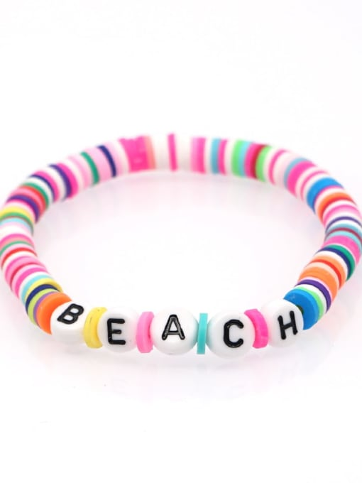 QT B200011N Stainless steel Multi Color Polymer Clay Letter Bohemia Stretch Bracelet