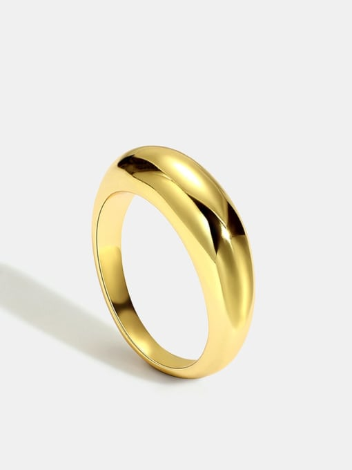 CHARME Brass Smooth Round Minimalist Band Ring 2