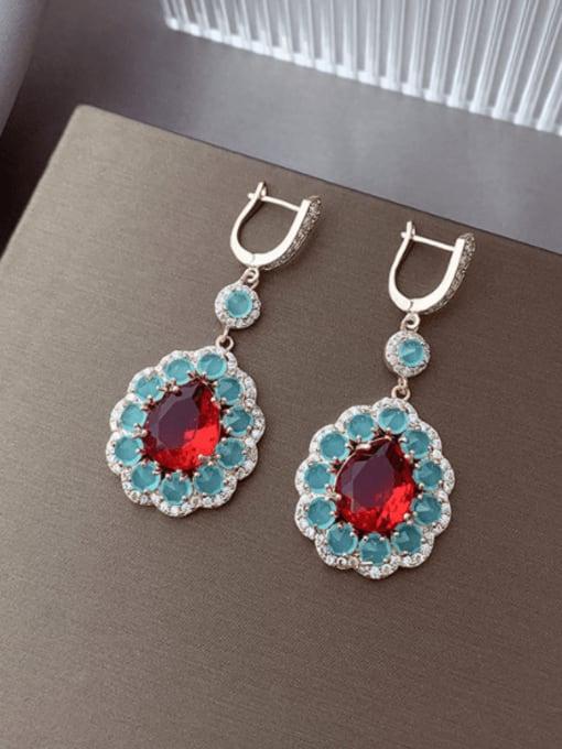Blue red Brass Cubic Zirconia Flower Trend Drop Earring