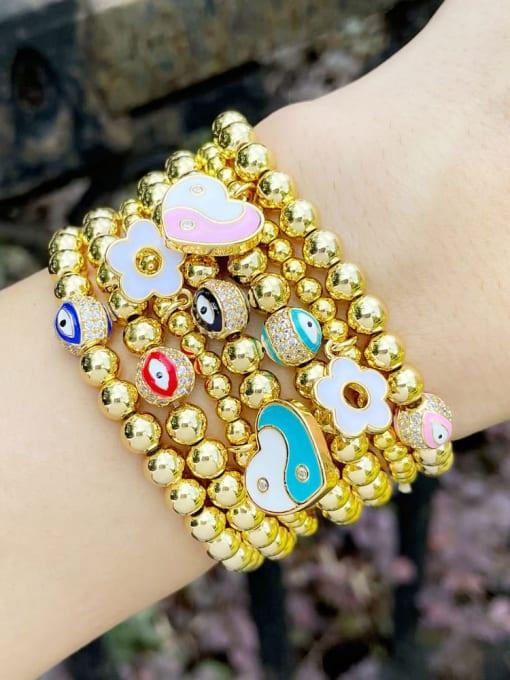 CC Brass Enamel Evil Eye Minimalist Beaded Bracelet 1