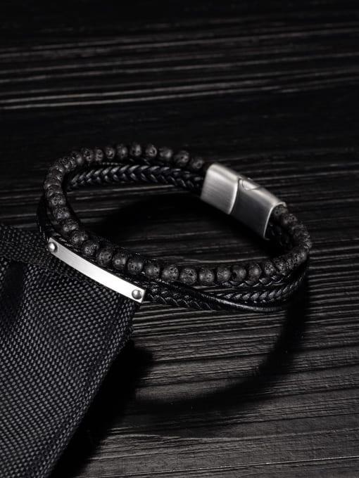 Open Sky Titanium Steel Leather Geometric Hip Hop Set Bangle 1