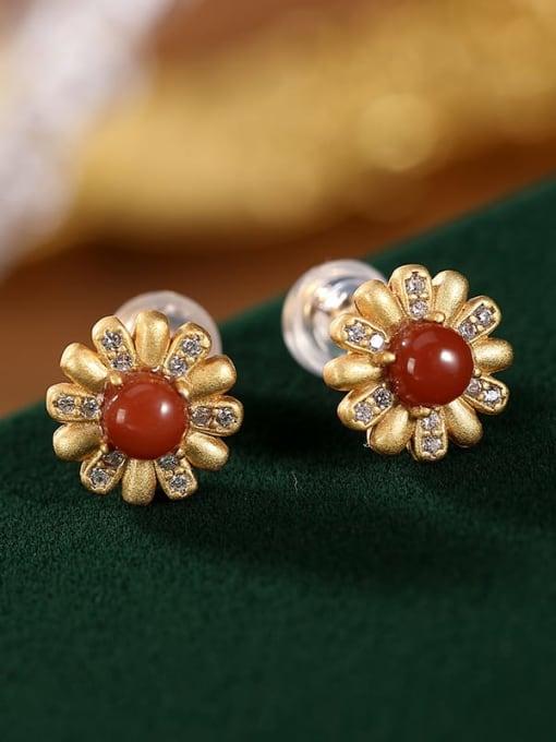 DEER 925 Sterling Silver Carnelian Flower Vintage Stud Earring