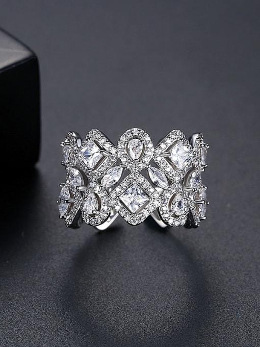 Platinum t17c08 Brass Cubic Zirconia Geometric Dainty Band Ring