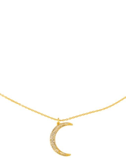 CC Bronze Cubic Zirconia Moon Minimalist Necklace 2