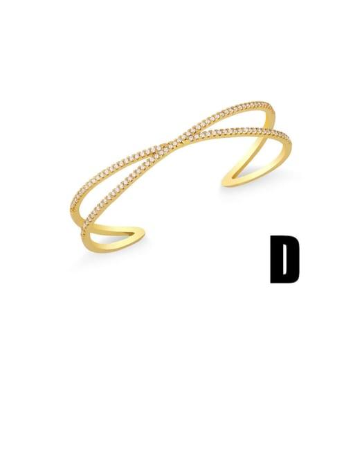 D Brass Cubic Zirconia Snake Vintage Cuff Bangle