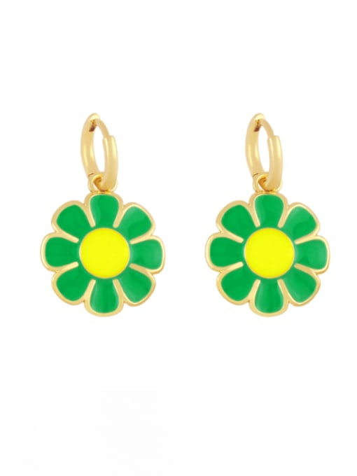 green Brass Enamel Flower Minimalist Huggie Earring