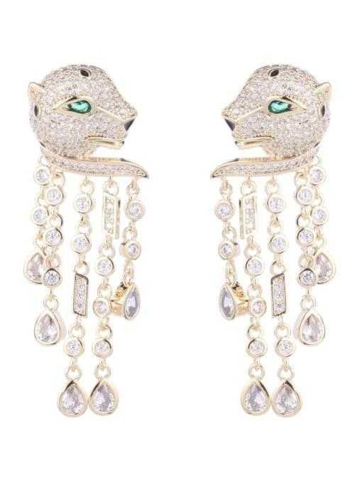 Luxu Brass Cubic Zirconia Leopard Vintage Drop Earring 3