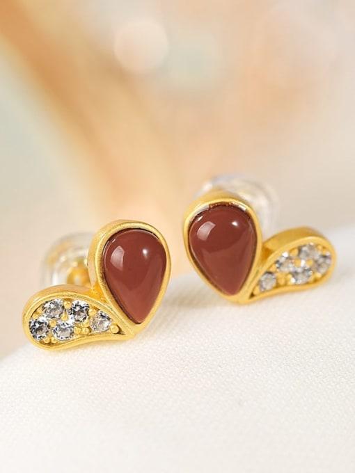 DEER 925 Sterling Silver Carnelian Heart Cute Stud Earring 0