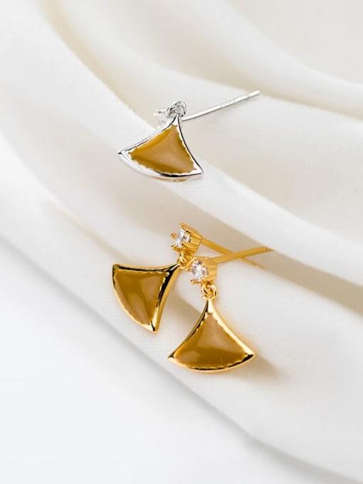 Rosh 925 Sterling Silver Enamel Triangle Minimalist Stud Earring 2