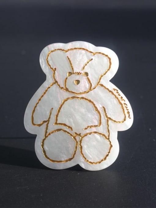 Pearl White Cellulose Acetate Cute Bear Zinc Alloy  Spring Hair Barrette