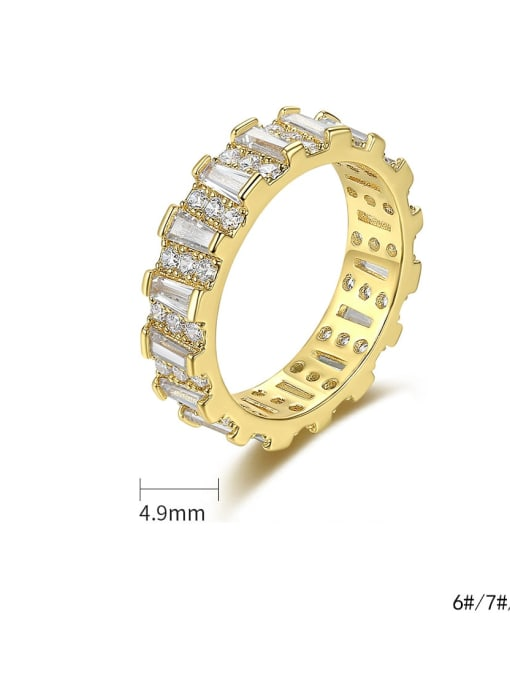 BLING SU Brass Cubic Zirconia Geometric Minimalist Band Ring 3