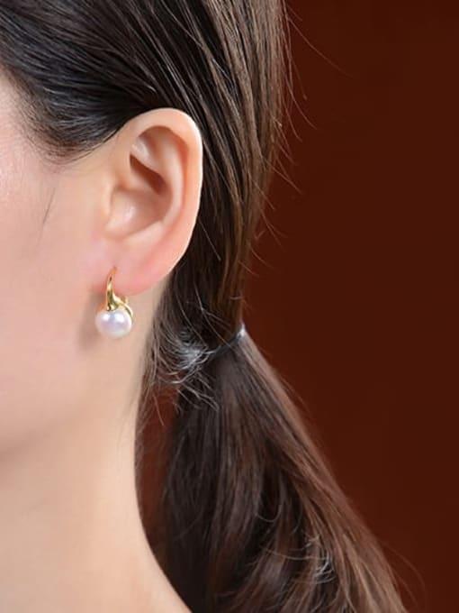 DEER 925 Sterling Silver Imitation Pearl Geometric Vintage Stud Earring 1