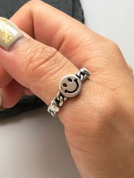 Boomer Cat 925 Sterling Silver Smiley Minimalist Band Ring 1