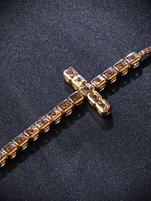 CC Brass Cubic Zirconia Cross Vintage Adjustable Bracelet 3