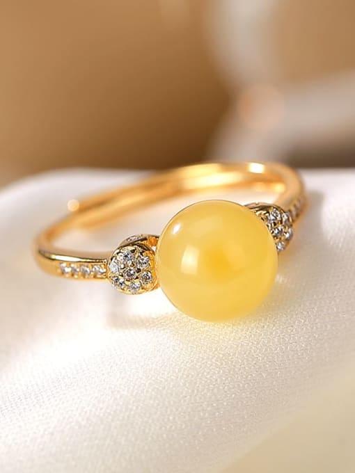 DEER 925 Sterling Silver Jade Round Minimalist Band Ring 2