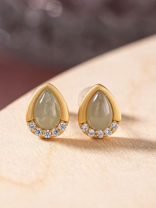 Blue jade (a pair) 925 Sterling Silver Jade Water Drop Vintage Stud Earring