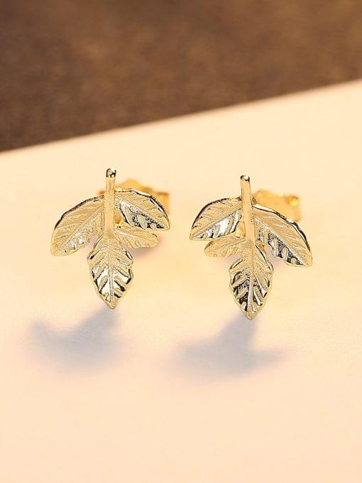 CCUI 925 Sterling Silver Leaf Minimalist Stud Earring 3