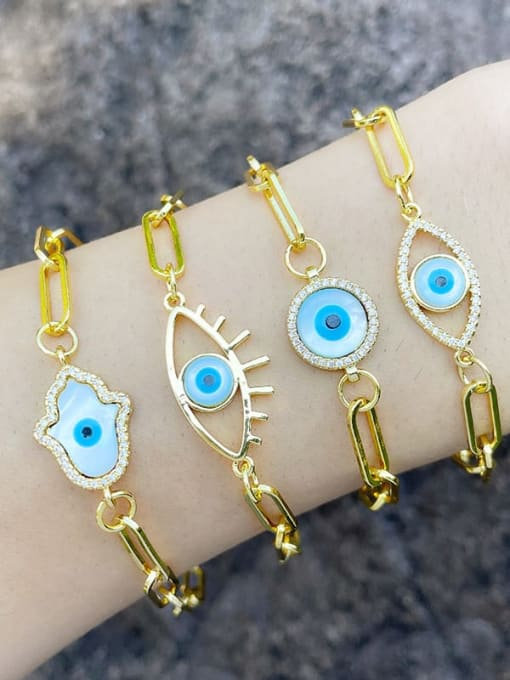 CC Brass Enamel Evil Eye Hip Hop Link Bracelet