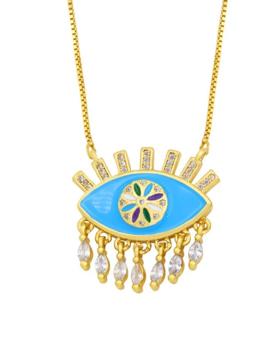 CC Brass Cubic Zirconia Enamel Evil Eye Vintage Necklace