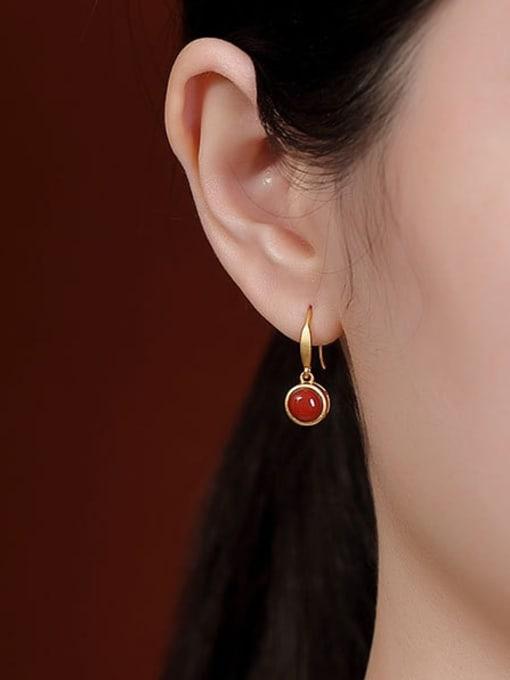 DEER 925 Sterling Silver Carnelian Round Vintage Hook Earring 1