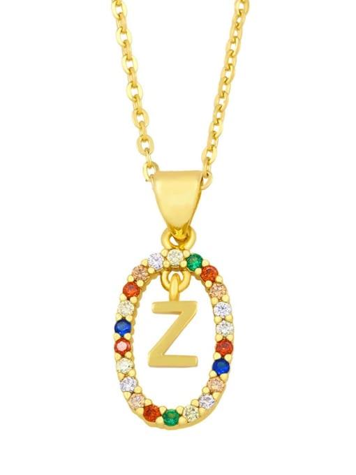 Z Brass Cubic Zirconia Letter Vintage Oval Pendant Necklace