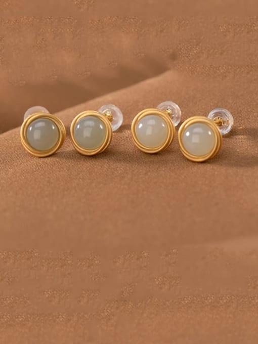 DEER 925 Sterling Silver Jade Round Vintage Stud Earring