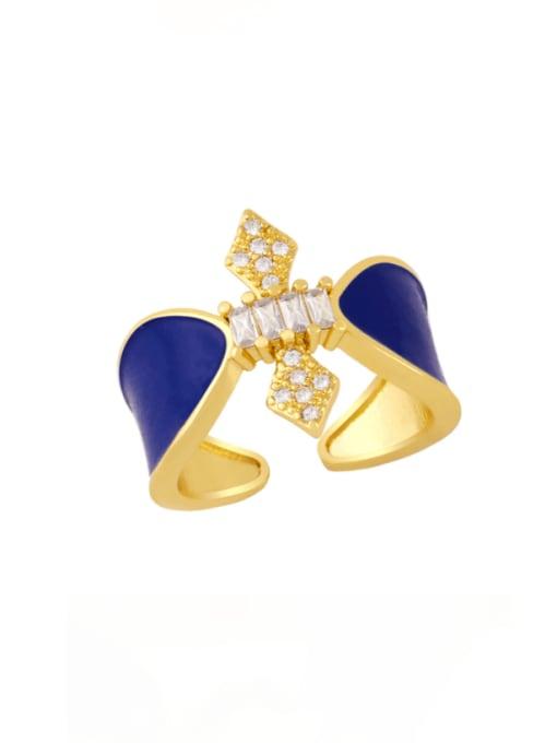 Dark blue Brass Enamel Rhinestone Geometric Vintage Band Ring