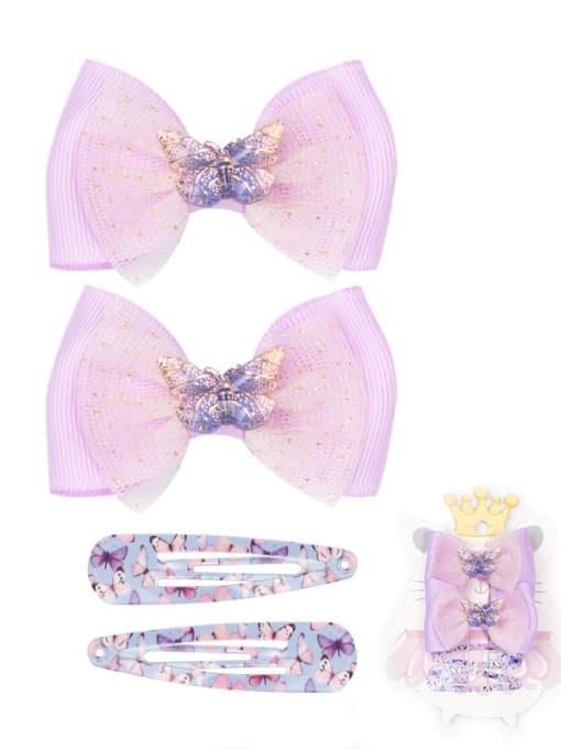 5 fairy Purple Butterfly suit Alloy Yarn Cute Bowknot  Multi Color Hair Barrette