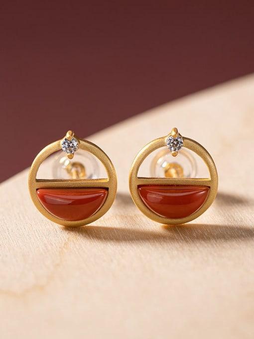 South Red 925 Sterling Silver Jade Geometric Vintage Stud Earring