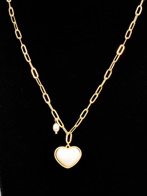 A TEEM Titanium Steel Cats Eye Heart Minimalist Necklace
