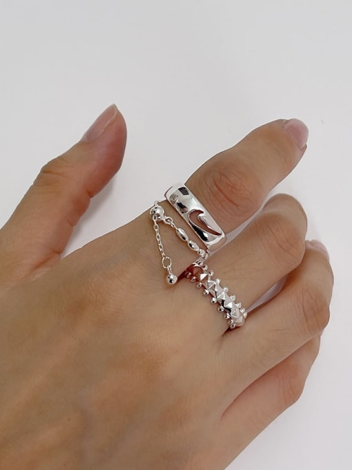 Boomer Cat 925 Sterling Silver Geometric Vintage Stackable Ring 0